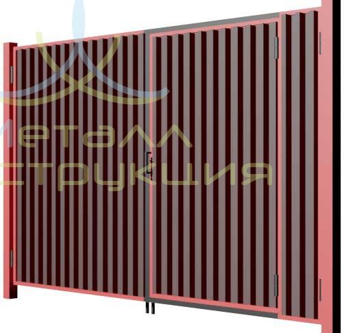 Ворота калитка в воротах из профнастила своими руками